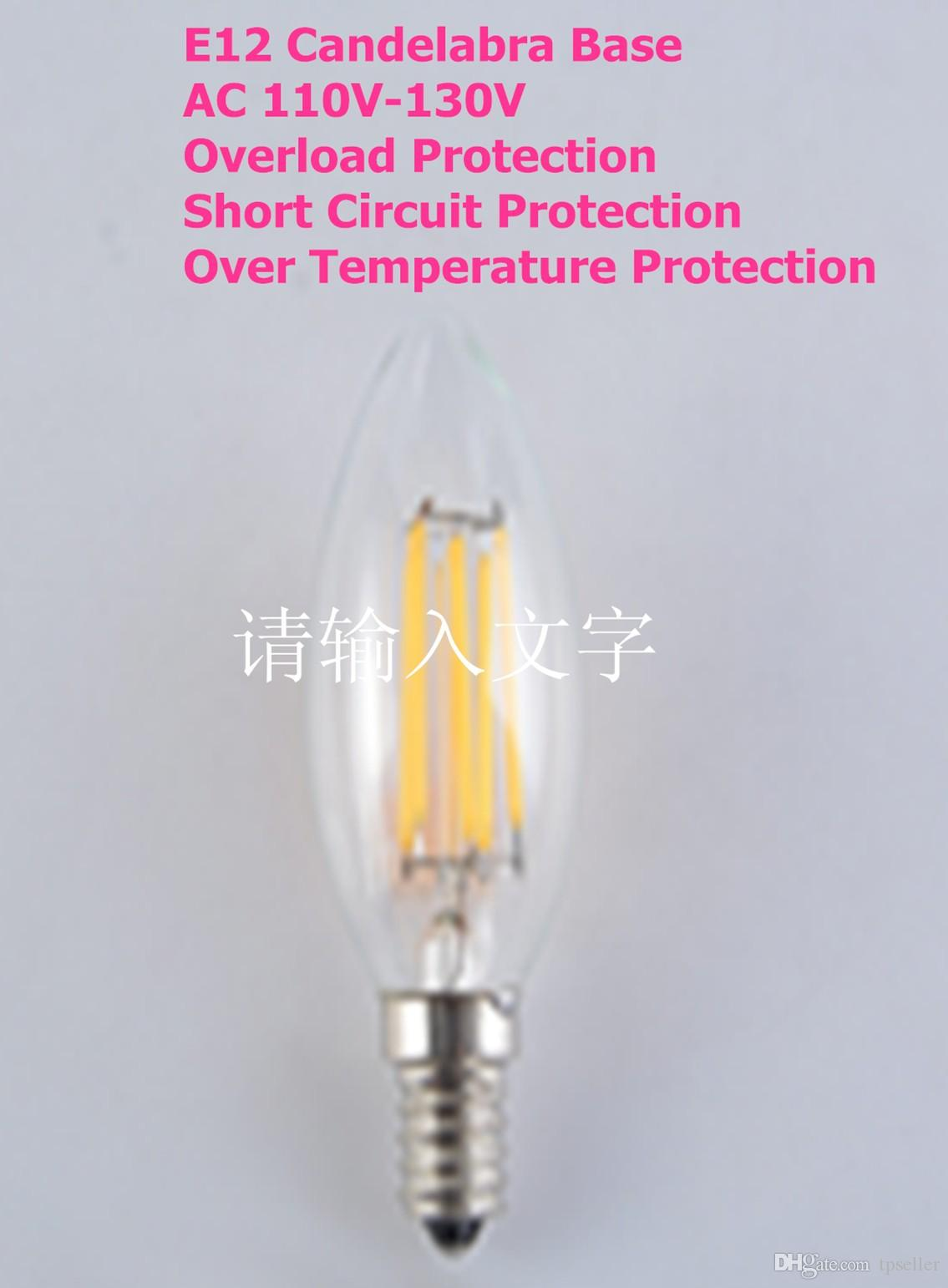 6w Dimmable Led Filament Candle Light Bulb 2700k Warm White 600lm E12 Candelabra Base Lamp C35 Bullet Top 60w Incandescent Replacement Best Bulbs