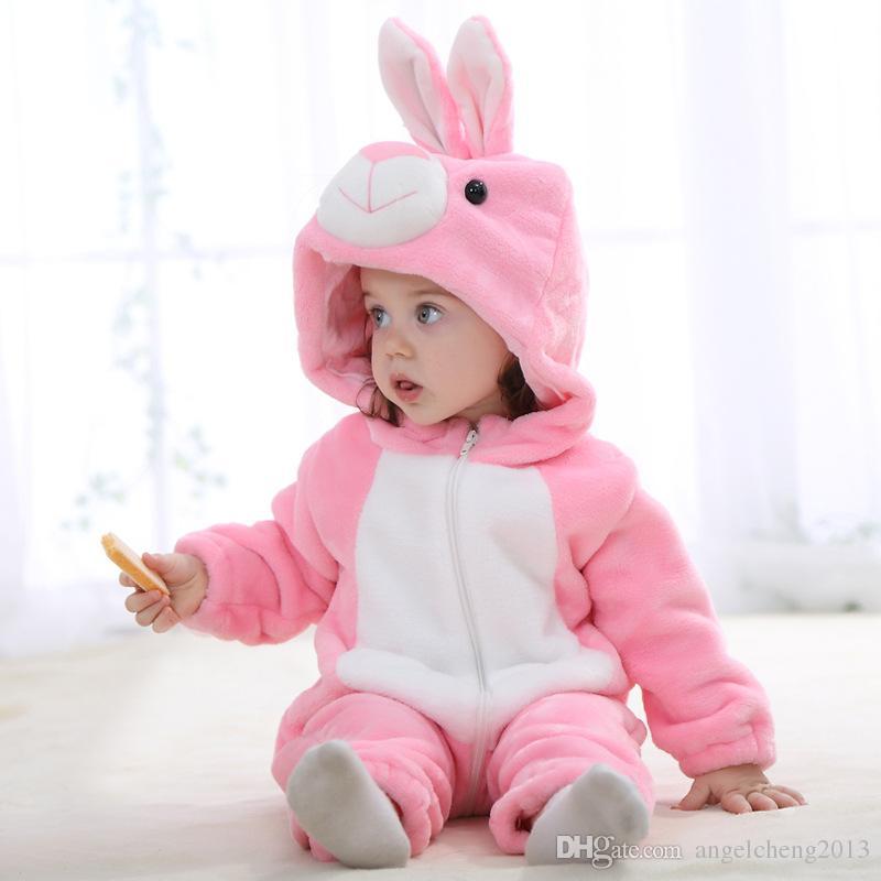 아기 의류 핑크 JY0526 귀여운 귀여운 아기 장난 꾸러기 소녀 면화 플란넬 퀼트 점프 슈트 만화 귀여운 토끼 동물의 추억 JY0526