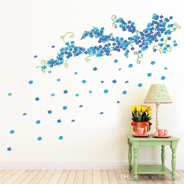 Envío gratis PVC TV telón de fondo grande azul ciruelo flores pegatinas de pared dormitorio sala de estar sofá telón de fondo decoración del hogar extraíble