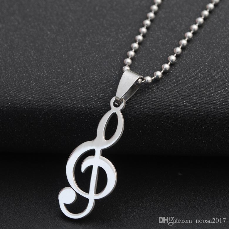 2017 New Punk music sign Silver Metal Men's Necklace & Pendants Titanium Steel P Hip Hop Jewelry for Men Women DIY Jewelry Decorations