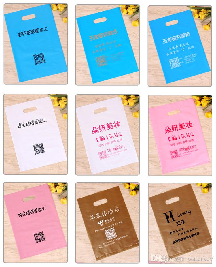 Elegant Plastic bag can be portable Packing bags For gift cosmetic clothes etc. Many colors can choice Many sizes can Customize LOGO