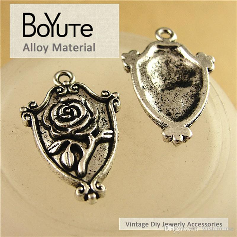 BoYuTe  16*24MM Zinc Alloy Vintage Zinc Alloy Rose Charms Shield Flower Pendants for Diy Jewelry Making Findings