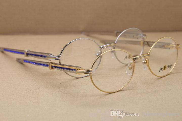 남성 블루 다이아몬드 스테인레스 스틸 안경 안경 프레임 골드 안경 실버 골드 메탈 프레임 안경 C 장식 골드 프레임 크기 : 55-22