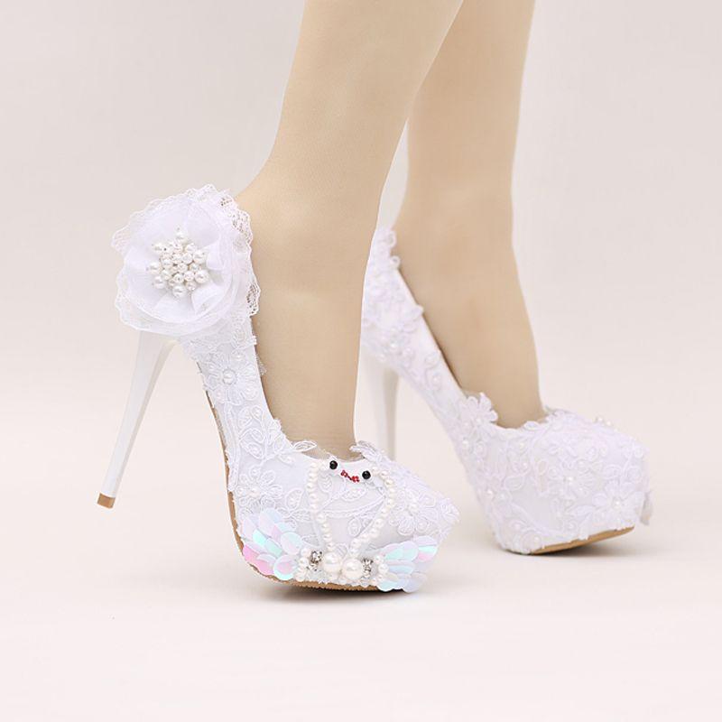 compre zapatos de novia de color blanco glitter wedding party shoes