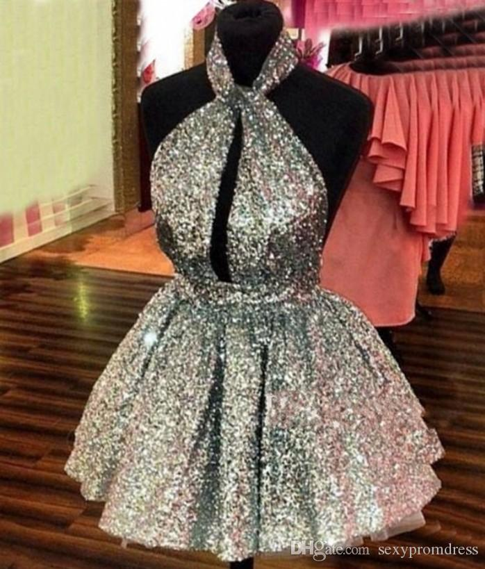 Sparkly Silver Sequined Homecoming Vestidos 2016-2017 Halter Sexy Backless Short Prom Dresses Hollow Front Vestidos de fiesta formales baratos