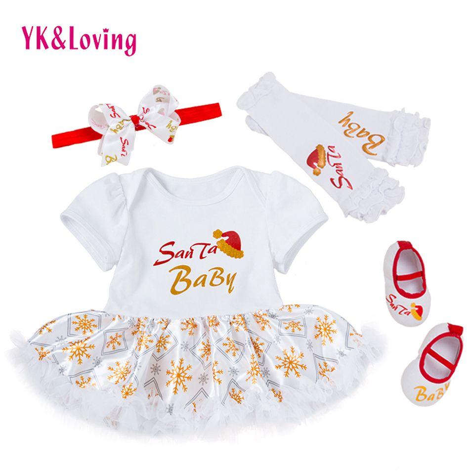 2018 Newborn Girl Christmas Clothing Santa Printing Baby Infant ...