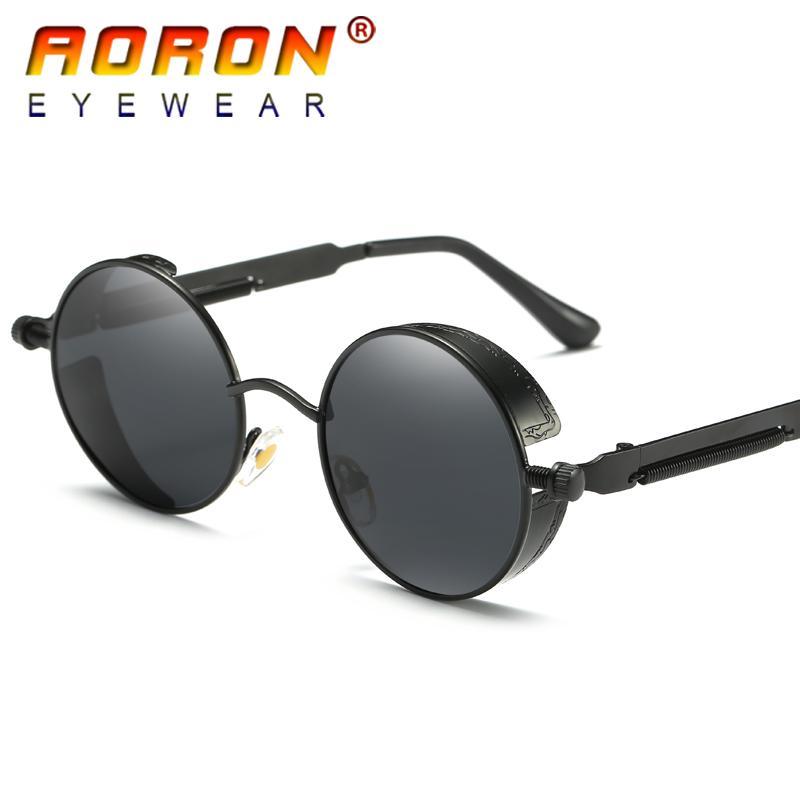 0303610d025b6 Compre Aoron Marca Homens Polarizados Óculos De Sol Gótico Steampunk  Revestimento Espelhado Círculo Redondo Óculos Retro Uv400 Vintage Eyewear  Com Caixa ...