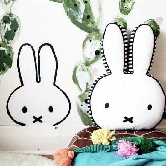 ins 3D Cartoon Animal Rabbit Pillow Cute Bunny Decorative Cushion Birthday Gift For Baby Children Home Bedding decoration