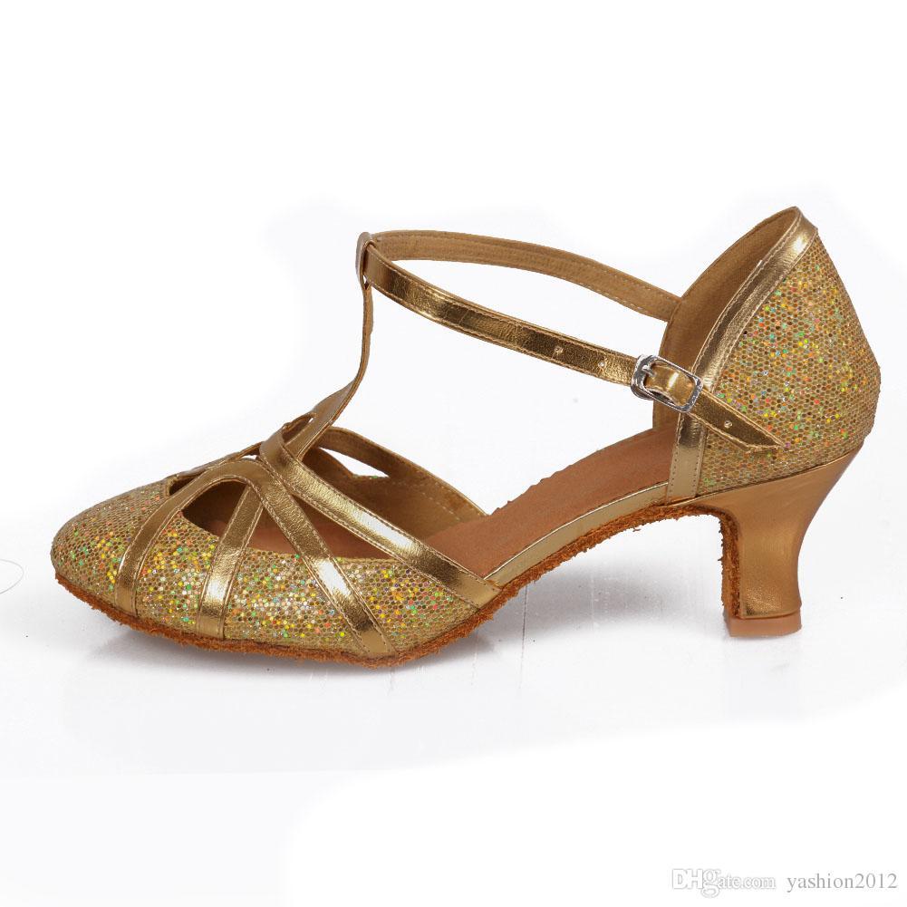 New arriver Fashion tango dancing girls women ballroom latin shoes ladies 5CM Gold / Silver