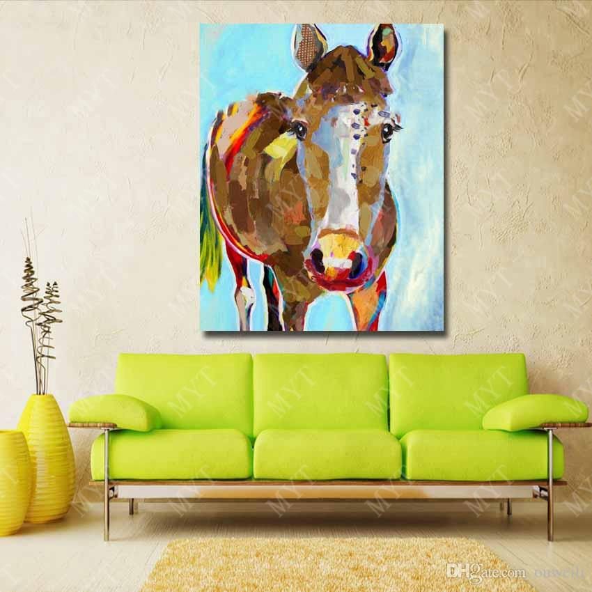 top quality canvas art work painting by hand painted mass production famous horse oil painting