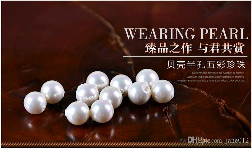 14MM 16MM 18MM Pearls Beads For Making Earrings DIY Jewelry White Half Hole Shells Round Loose Beads Wholesale