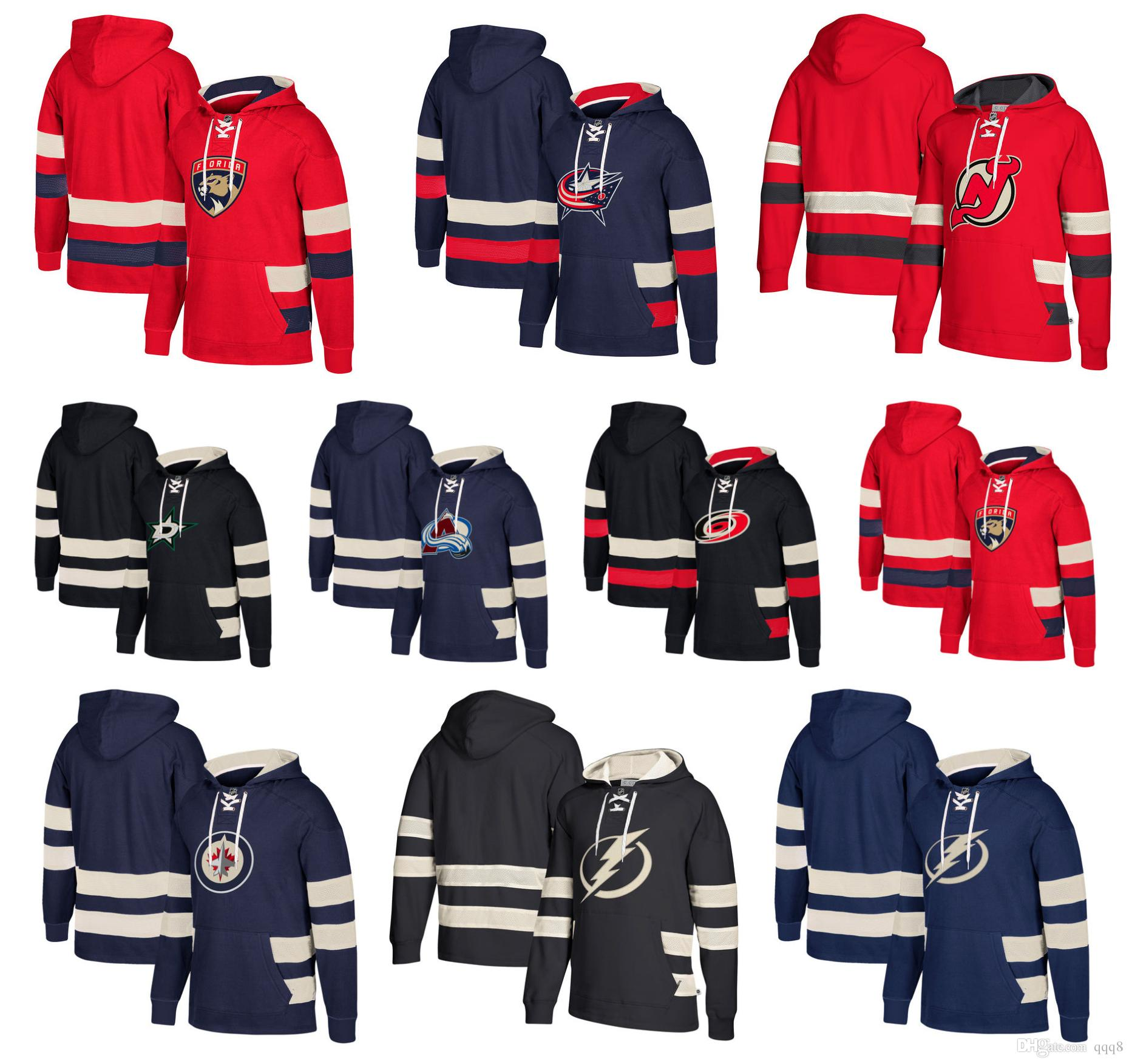 wholesale dealer 88f64 6a2e9 Custom Hockey Hoodie Pullover Winnipeg Jets Dallas Stars New Jersey Devils  Columbus Blue Jackets Tampa Bay Lightning Carolina Hurricanes