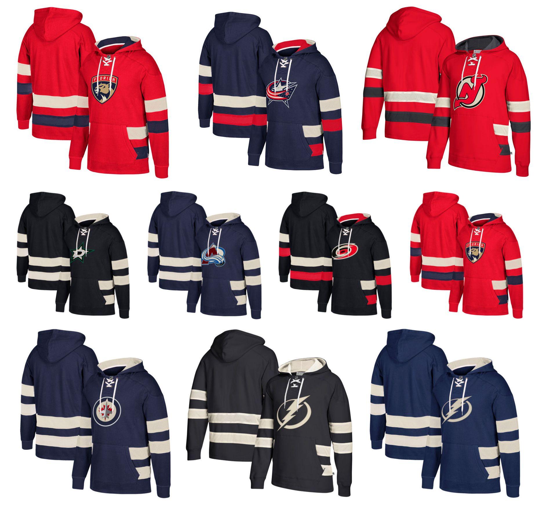 huge discount 5e9b5 53f41 Kundenspezifischer Hockey-Hoodie-Pullover  Winnipeg-Jet-Dallas-Stern-New-Jersey Teufel Columbus-blaue  Jacken-Tampa-Bucht-Blitz Carolina-Hurrikane