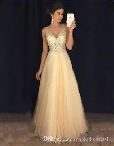 Castle Sweety Sparkle Evening Dresses A Line V Neck Backless Floor Length Draped Crystal Beaded Collar Prom Dresses 2019