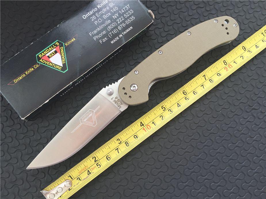 OKC Ontario RAT Model Knife Desert AUS-8 Satin Plain 8848SP G10 handle  Folding blade knife EDC pocket knife knives 6 colors