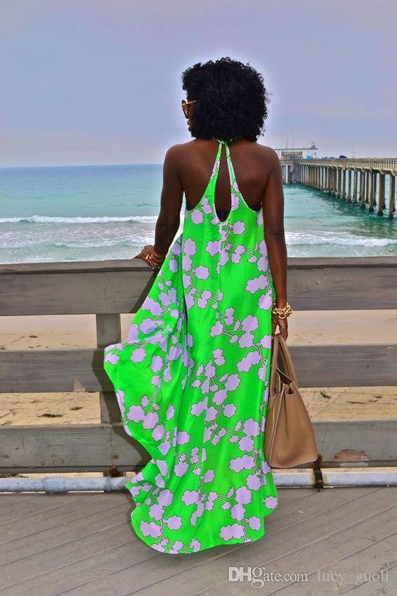 2016 Summer Bohemian Sans Manches Casual Femmes Ethnique Imprimé Sexy Spaghetti Strap Long Beach Maxi Dress Casual Asymétrie Lâche robe Vestidos
