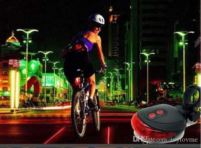 5 LED 2 Lasers  Bike Laser Light Bicycle Rear Tail Lamp Cycling Safety Led Flash High Quality