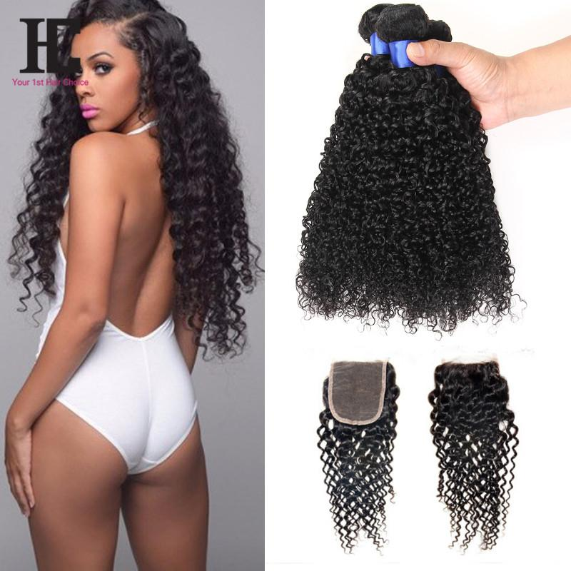 Brazilian Curly Virgin Hair With Closure 4 Bundles With Closure Brazilian Virgin Hair With Closure HC Human Hair Extensions