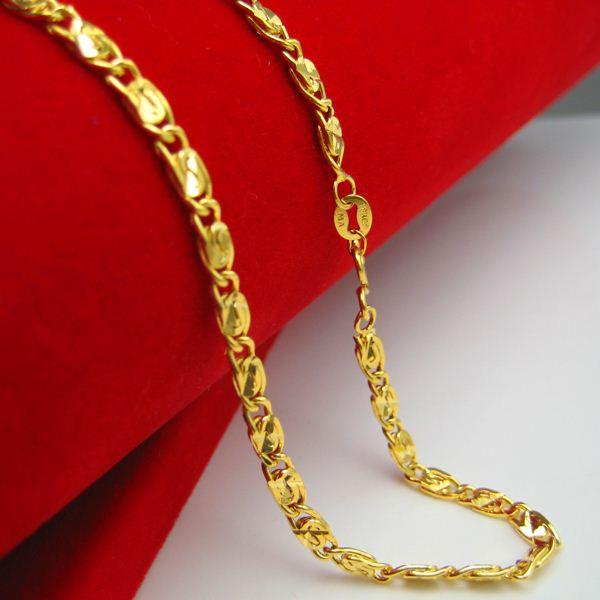 gold rosary mm yellow necklace solid chain