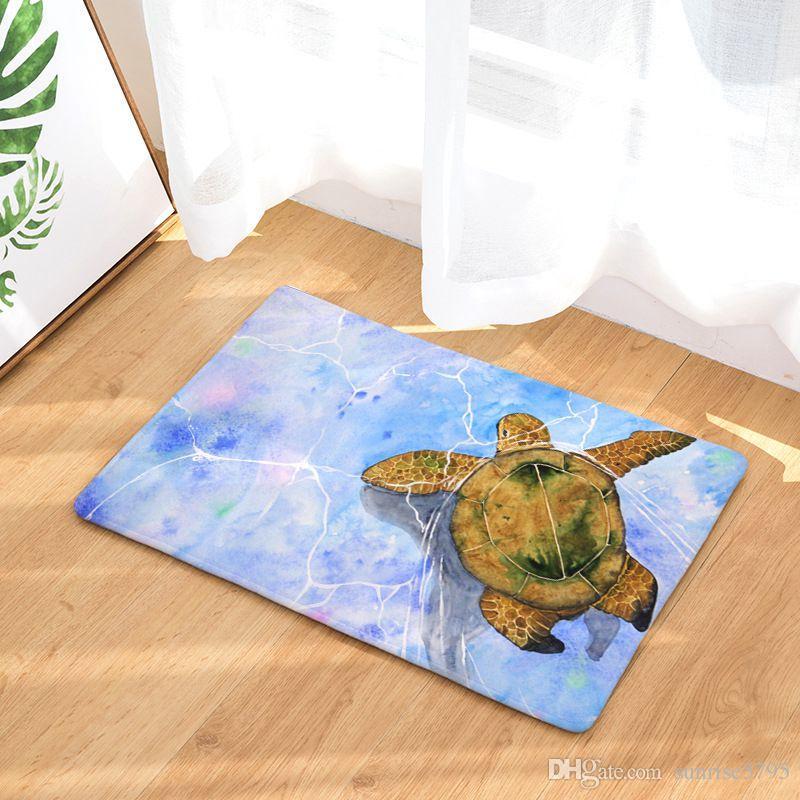 vintage marine tapete whale sea horse carpet turtle doormat octopus kitchen bathroom floor mat for home office chair