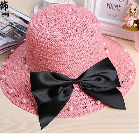 be49ab00a5a08 Hot Sale Summer Beach Hat Sun Shade Large Brimmed Hats Bowknot Pearl ...