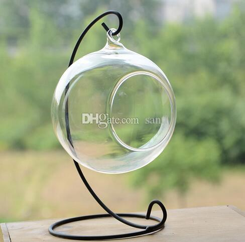 Iron Wedding Candle Holder Moroccan Candlestick Glass Ball Hanging Bracket Stand