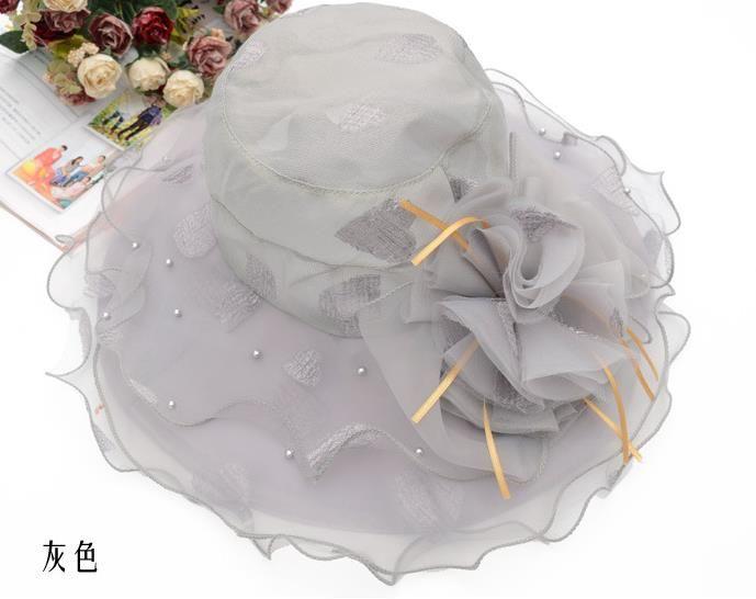 Femmes Fascinator Oranza Fleur Large Bord Chapeau Derby Du Kentucky Derby Eglise Robe De Soirée Chapeau Cocktail Nuptiale De Mariage De Mariage Cap Plage Soleil Chapeau Cadeau