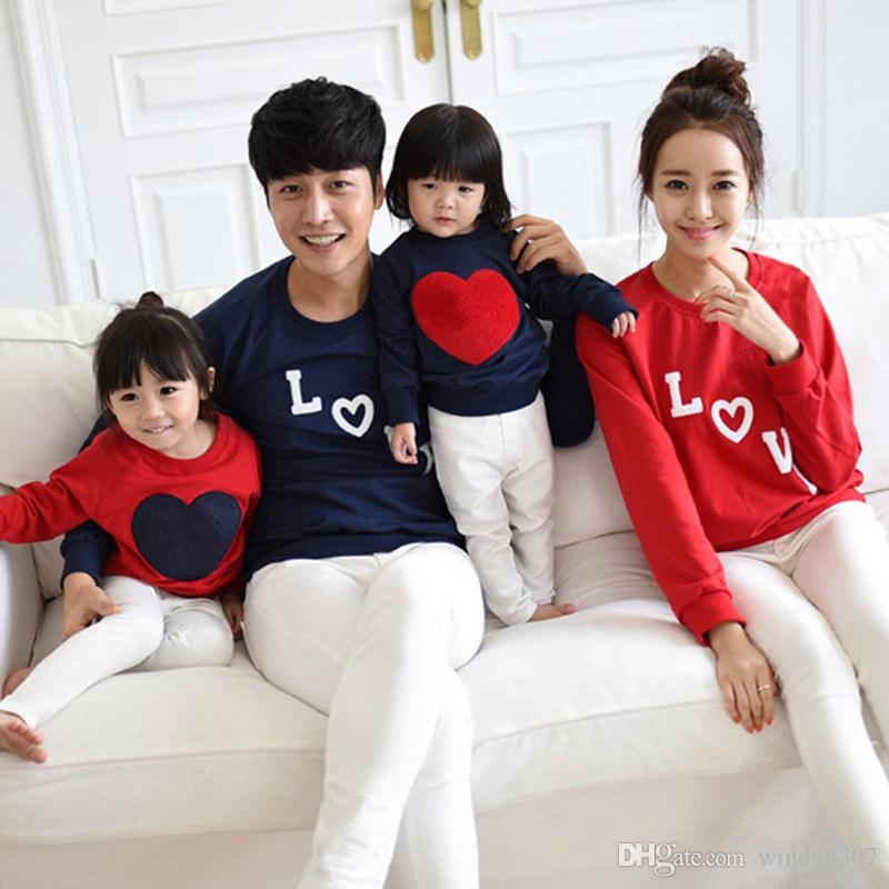 557ce0d6c Family Matching Outfits Clothes Mom Dad Baby Love Long Sleeve Cotton ...