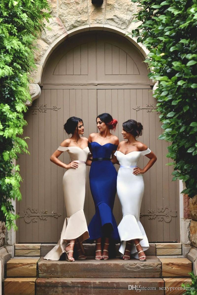 Elegantes vestidos de noche de hombro 2016 Vestidos de dama de honor de sirena satinada para bodas Sexy sin espalda Formal Formal Vestidos Maid of Honor Vestido