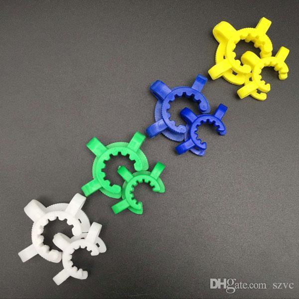 Accessoires de fumer 14mm 19mm Plastique KECK Clip avec vert blanc bleu jaune de quatre couleurs laboratoire laboratoire pince de laboratoire pour bangs d'eau Adaptateur en verre