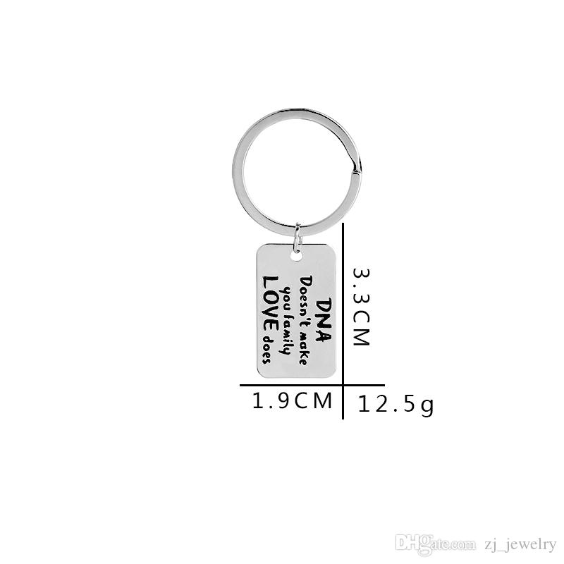 DNA Doesn't Make A Family Love Does Keychain Adoption Personalized Key Holder Keepsake Family Kids Jewelry Step Dad Mom Gift