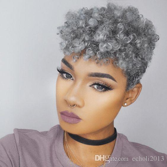Virgin Gray Hair Puff Clip In Afro Kinky Curly Brazilian Virgin Hair