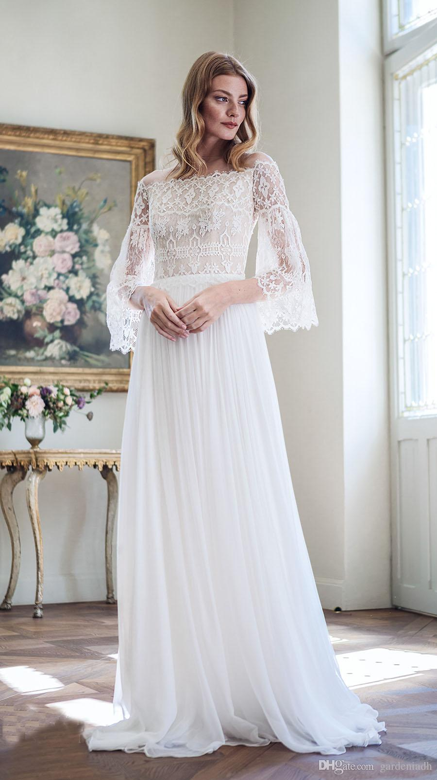 Discount 2017 Bohemian Wedding Dresses Long Bell Sleeves A Line ...