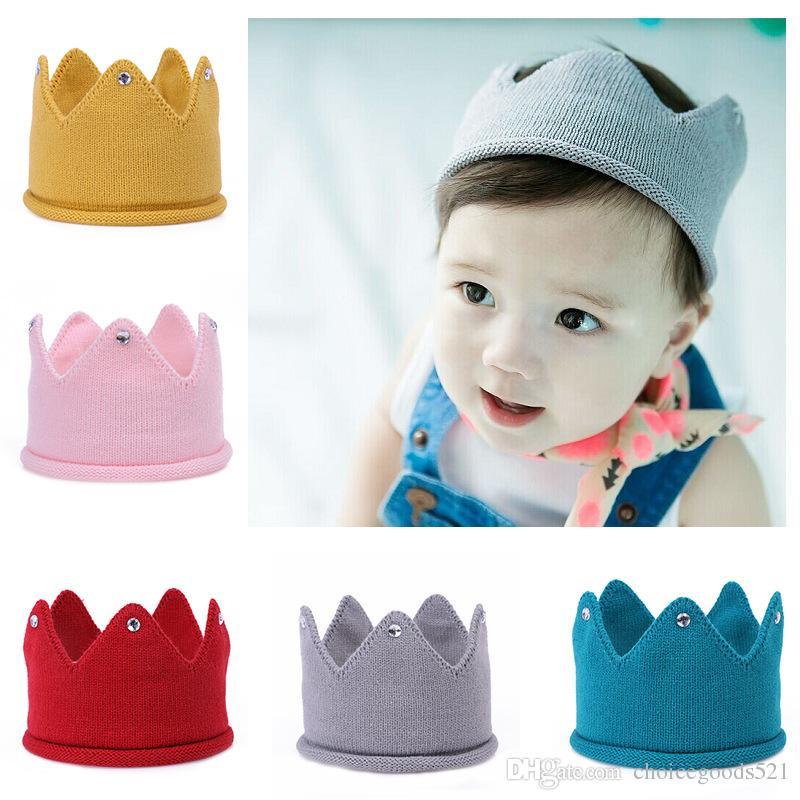 Großhandel Baby Stricken Krone Tiara Kids Infant Crochet Stirnband ...