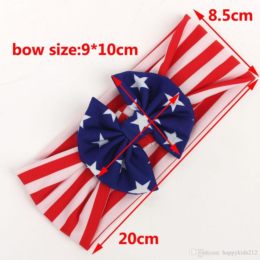 Baby star stripe bandiera nazionale bowknot Fasce 3 Design Cute Girls bandiera americana Hair Band Headwrap Bambini Accessori elastici