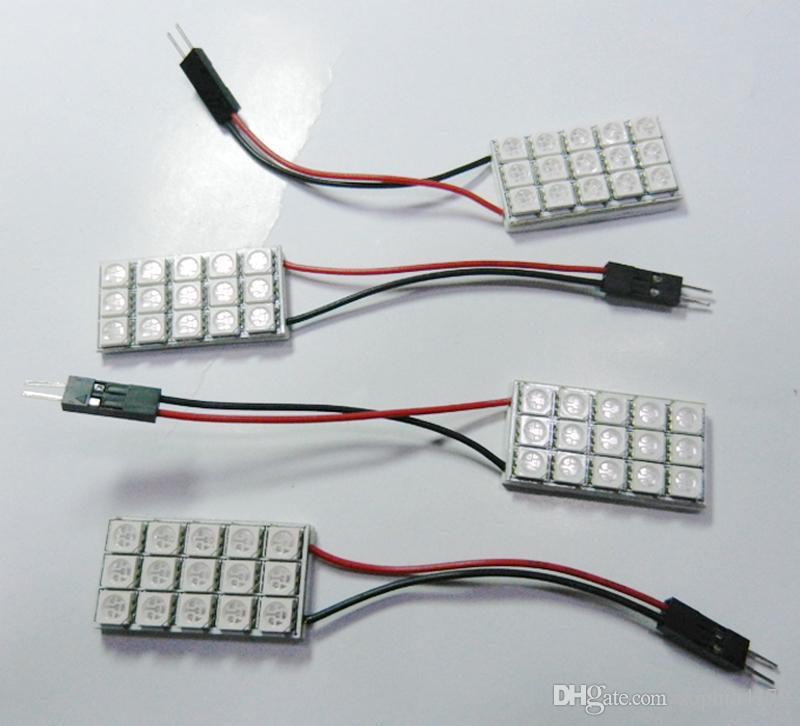 Hight quality Festoon led 5050 15 LED 15smd Cúpula Interior bombillas panel de coche bombilla con adaptador Festoon