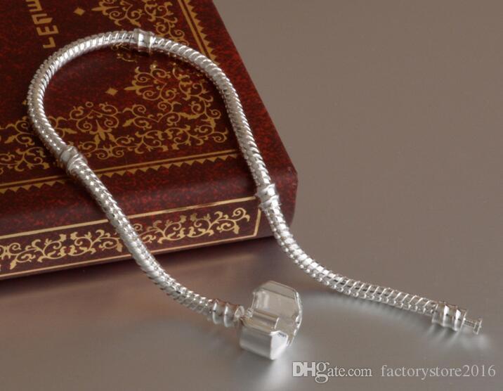 Fabbrica all'ingrosso 925 Bracciali in argento sterling in argento 3mm Catena di serpente Fit Pandora Charm Braccialetto Braccialetto Braccialetto Gioielli regalo gli uomini donne
