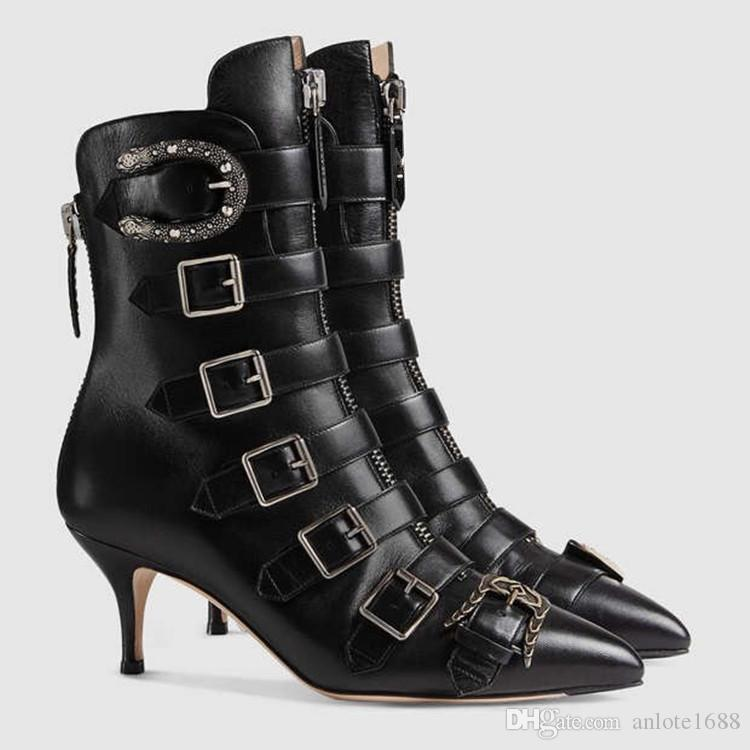 Serpentine Leather Kingsnake Botines Mujer Negro Martin Boots Cuchillo Botines Diseñador Hebilla Fetish Heels Bombas Vestido zapatillas de promo
