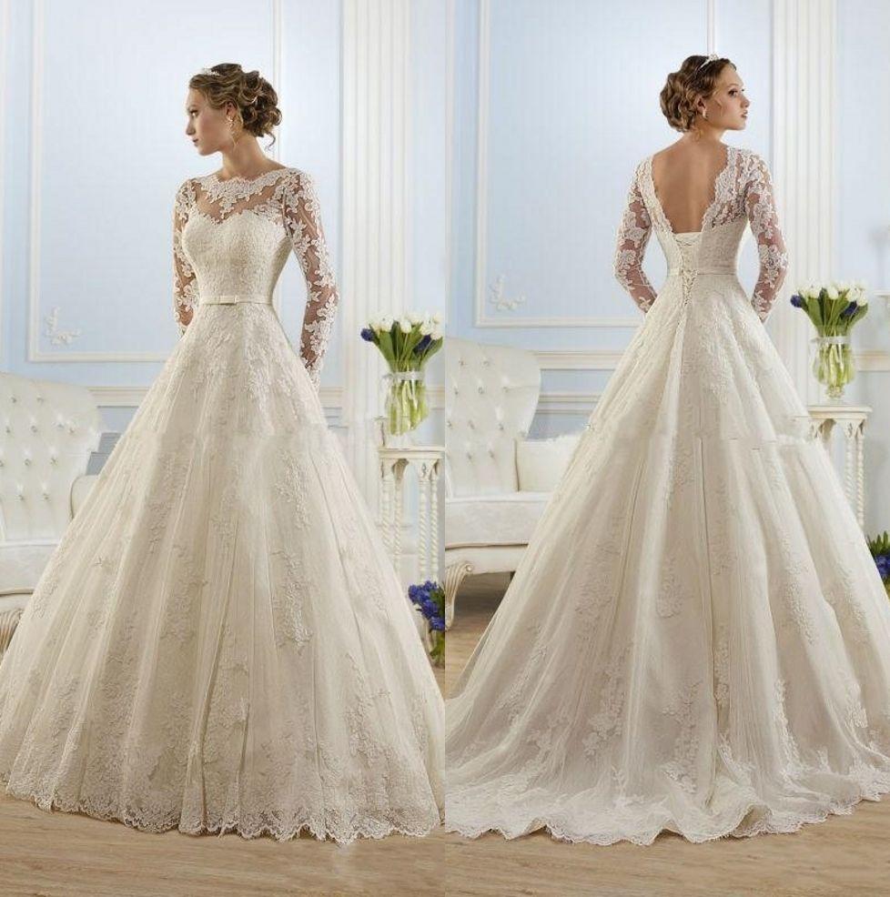 Discount Ivory White 2019 Lace Long Sleeve Wedding Dresses