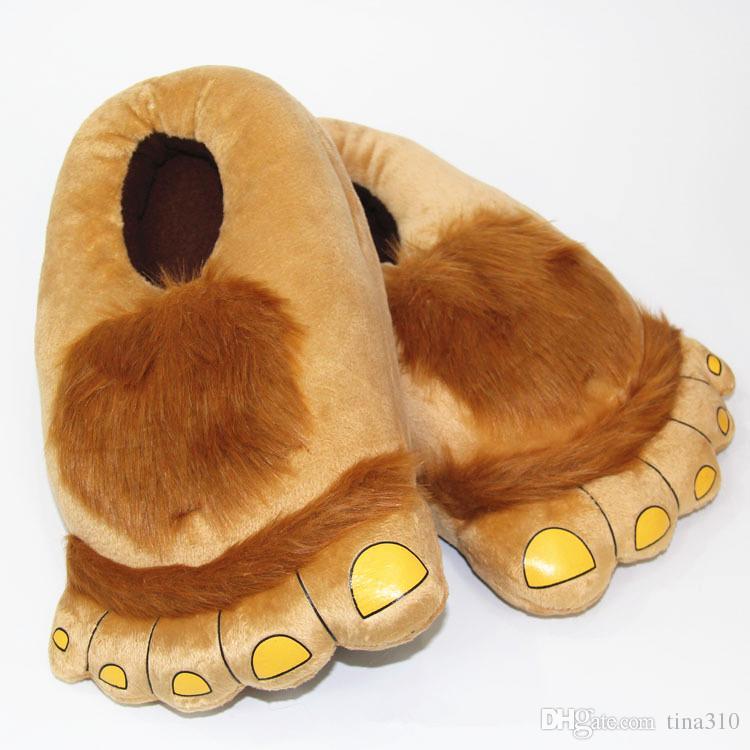 Lustige Winter Indoor Große Füße Hobbits Haus Home Floor Hausschuhe Unisex Plüschtier Claws Slipper Neuheit 29 cm Frauen Männer Schuh B0492