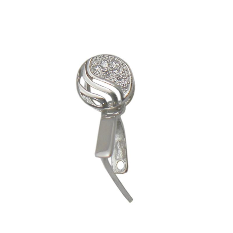Beadsnice Jewelry Findings 925 Sterling Silver Bail Pinch Clasp For Pendants DIY Necklace Bail with Rhinestone ID 34630