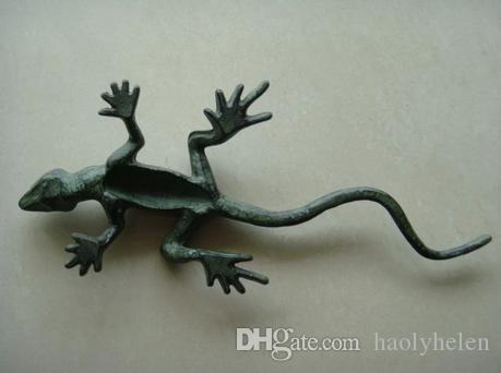 American Country Style Painted Lizard Decoration Cast Iron Color Painting Animal Figurine Garden Yard Ornament Vintage Crafts Dark Green