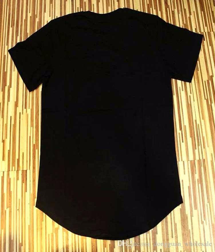 2018 Uomini Si Seta Seta Kanye West Sik Seta Uomo Casual Hip Hop Taglio irregolare Zipper maniche corte T-shirt Nero Bianco rosso