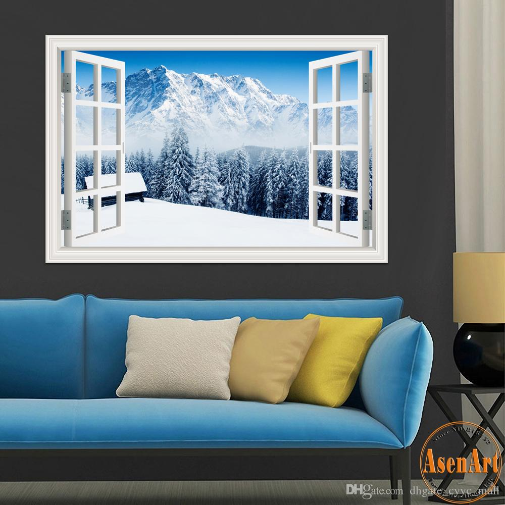 3d window view forest tree snow winter landscape wallpaper murals 3d window view forest tree snow winter landscape wallpaper murals vinyl wall stickers home decor 24x36 sticker wall sticker wall art from dhgate cyyc mall