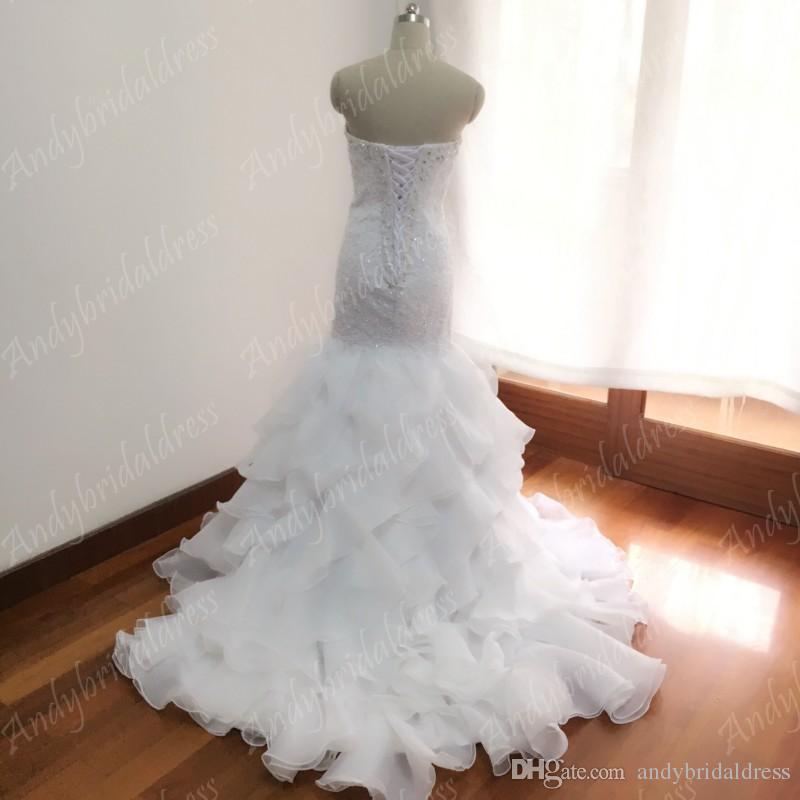 Vintage Sweetheart echtes Design Rüschen Meerjungfrau Brautkleid Kleider mit Zug Strasssteine Spitze Applizierte Brautkleider Brautkleider