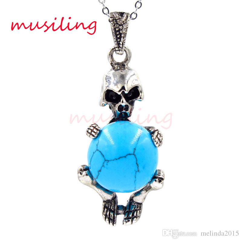 2016 Jewelry Silver Plated Pendulum Skull Natural Gem Stone Pendant Charms Reiki Amulet European Fashion Cool Men Jewelry Gifts