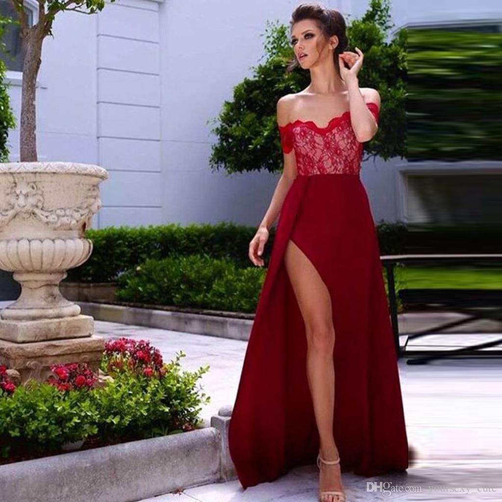 2017 Off Shoulder Side Split Evening Dresses Short Sleeves ...