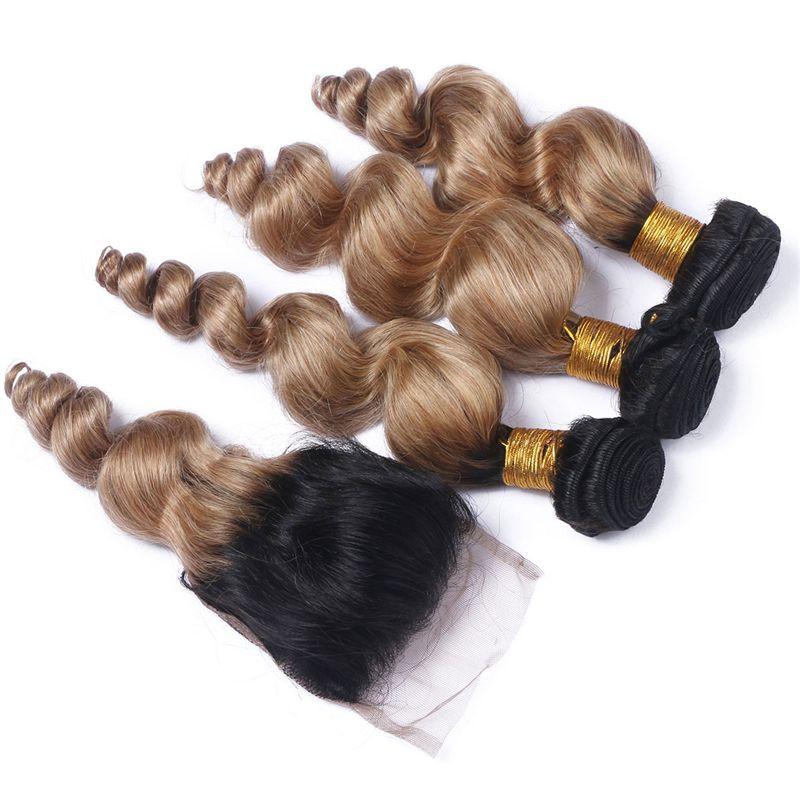 Темный корень ломбер два тона Свободная волна пучки волос с закрытием шнурка #1B 27 волос ткет с закрытием шнурка 4*4 для женщины