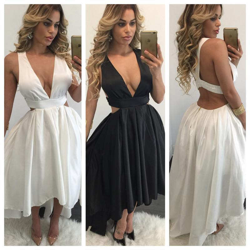 Sexy Black White High Low Dress Plus Size Clothing 2016 Summer Women