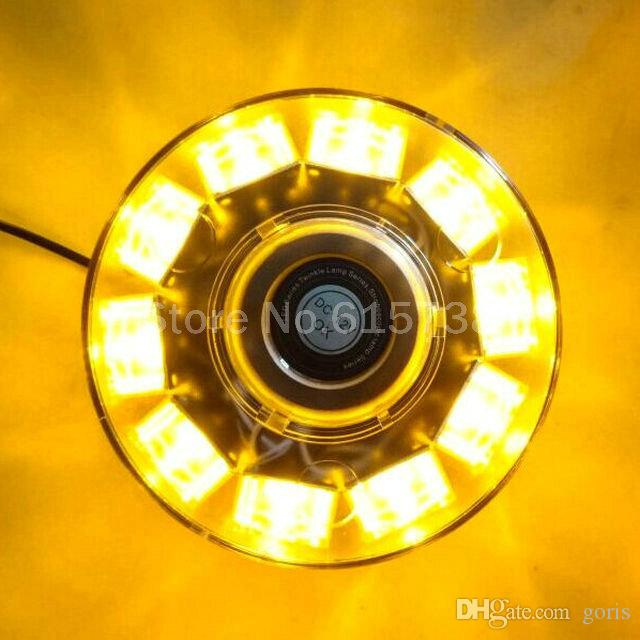 12V 10W Car Auto Round LED Beacon Emergency Strobe Flashing Warning Police Lights Roof Lightbar Amber Red Blue Magnetic Mounted